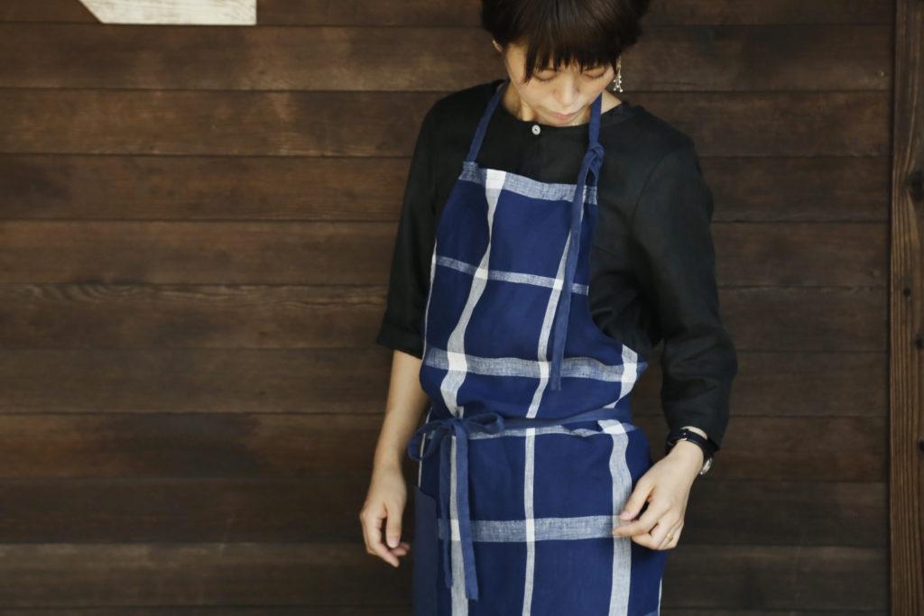天然素材の衣類/hoku エプロン
